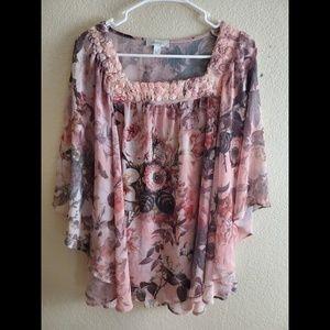 Dressbarn XL Pink Floral Chiffon Boho Lace Top